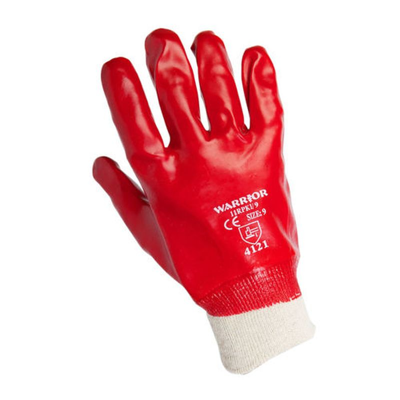 Red PVC Knit Wrist Glove Sz 9