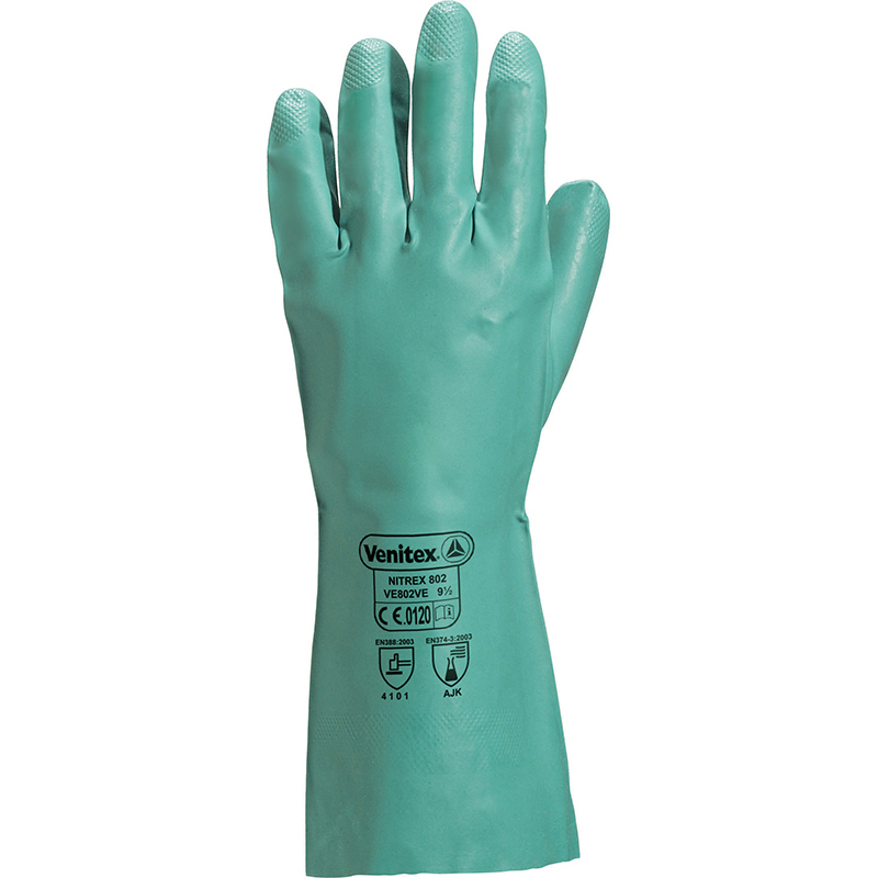 Glv Nitrile Gauntlet Green 13' VE802 Size 10
